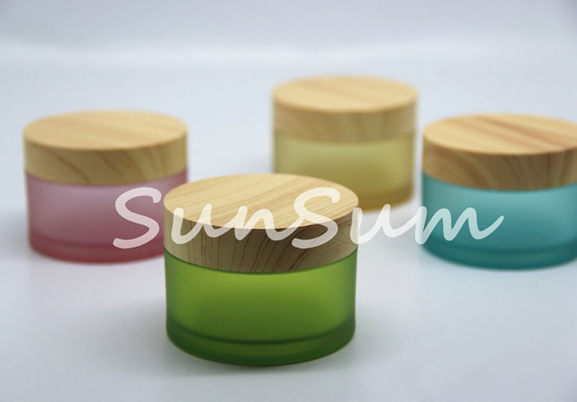 PET Plastic Jar with Wooden Color Coating Lid