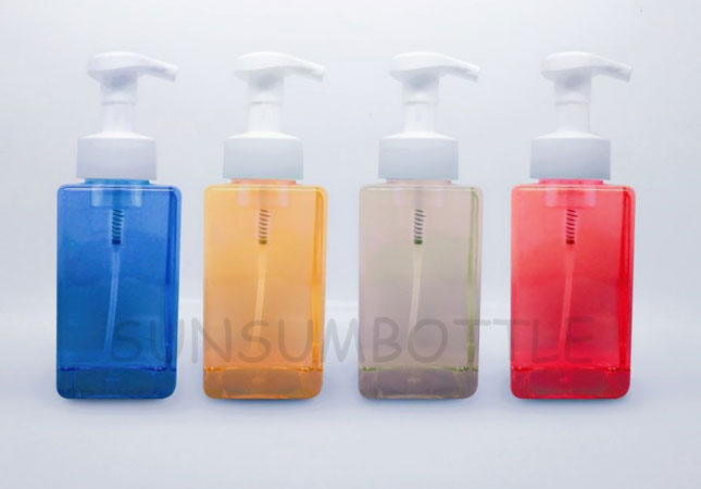 PET Plastic Square Soap Form Pump Bottle