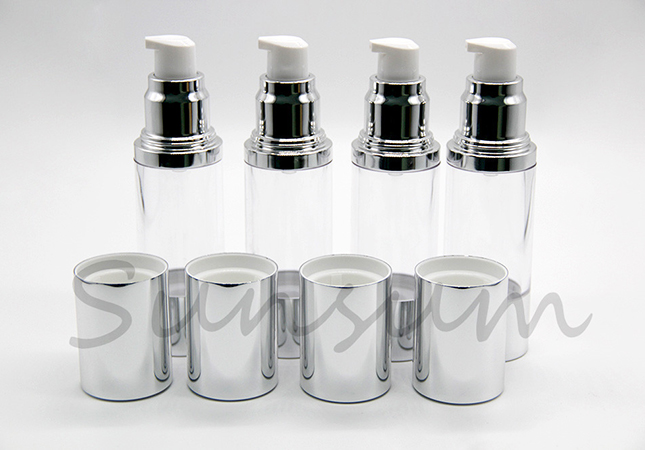 Cosmetic Luxury Airless Silver Cap Bottle with 30ml