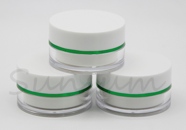 Green Ring Double Wall Cream Mask Jar With 15ml