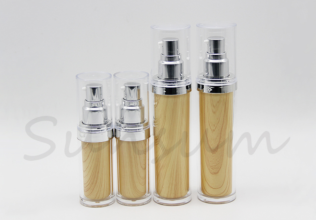 Double Wall Wooden Cosmetic Lotion Sprayer Bottle