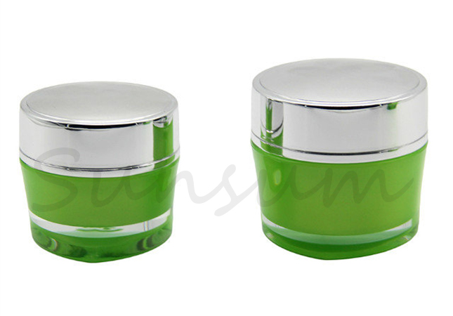 Acrylic Luxury Silver Cap Cream Packaging Cosmetic Jar with 30g 50g