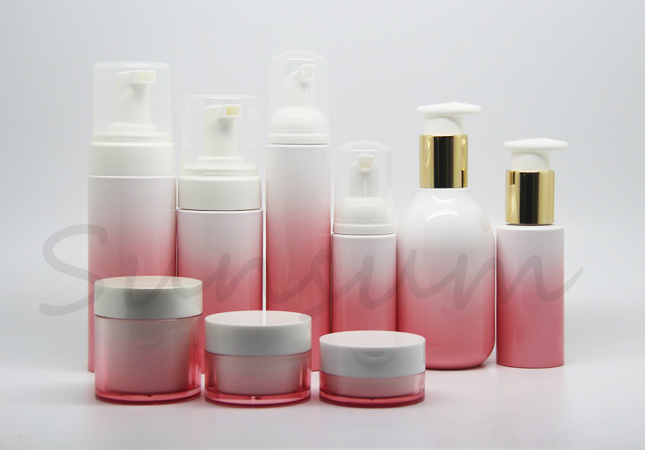 A Set Cosmetic Lotion Skin Care Foam Soap Container Bottle and Jar