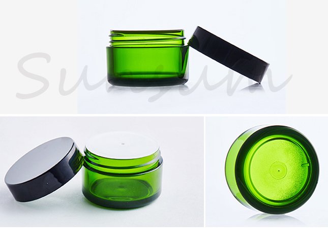 Free Sample Cosmetic Green Amber Color Cream Jar with 30g 50g