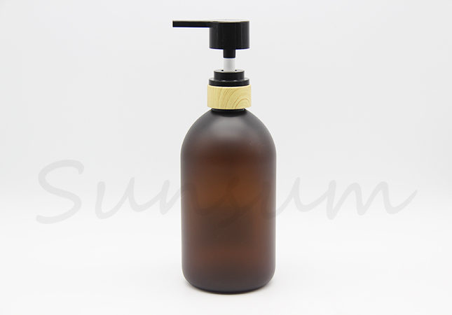 Amber Color Round Cosmetic Shampoo Packaging Bottle 500ml