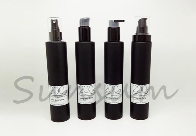 Matte Black Color Cosmetic Lotion Care Pump Spray 200ml Bottle