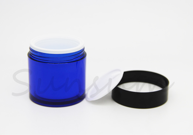 50g Cosmetic Double Wall Blue Outside White Inner Skin Care Cream Jar