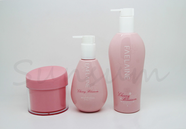 Pink Color Cosmetic Lotion Body Care Container Shower Gel Bottle