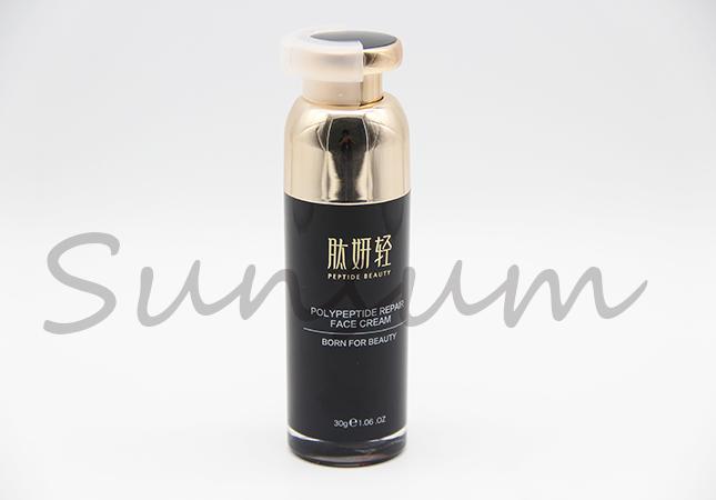 Golden Airless Pump Cosmetic Lotion Vacuum Custom Bottle