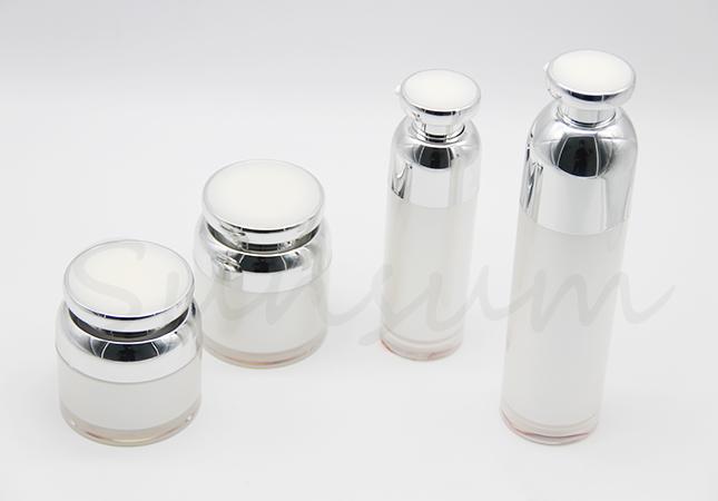 Set Cosmetic Vacuum Pump Skin Care Airless Jar and Bottle