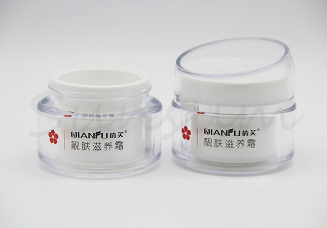 Cosmetic Acrylic White Color Double Wall Cream Jar with 50g