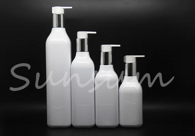 Set Plastic Shower Gel Cosmetic Silver Pump Shampoo Long Neck Square Bottle