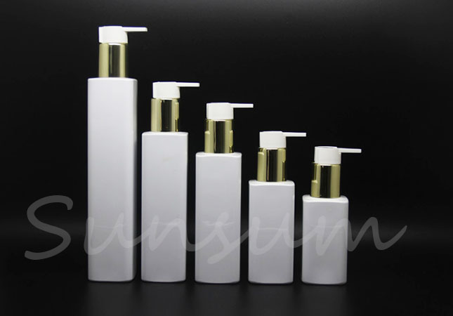 Square Cosmetic Shampoo Products Plastic White Color Custom Bottle