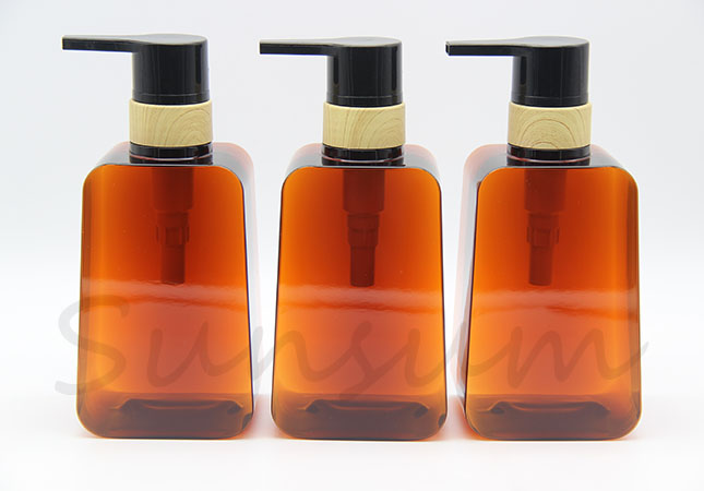 PETG Plastic Cosmetic Amber Color Shampoo Bottle