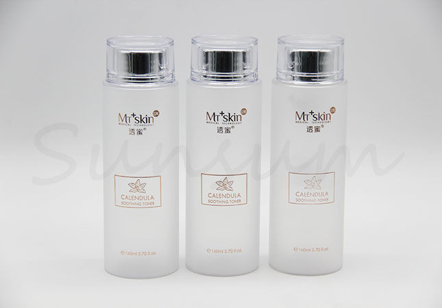 Luxurious Cosmetic Lotion Toner Water Liquid Frosted Transparent Bottle