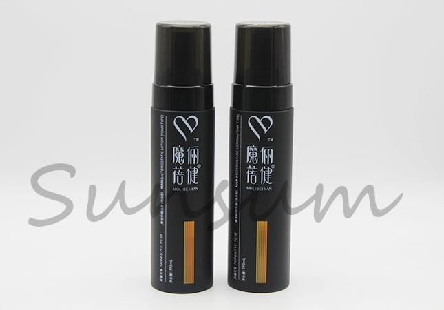Black Color Cosmetic Foam Pump PET Plastic Bottle