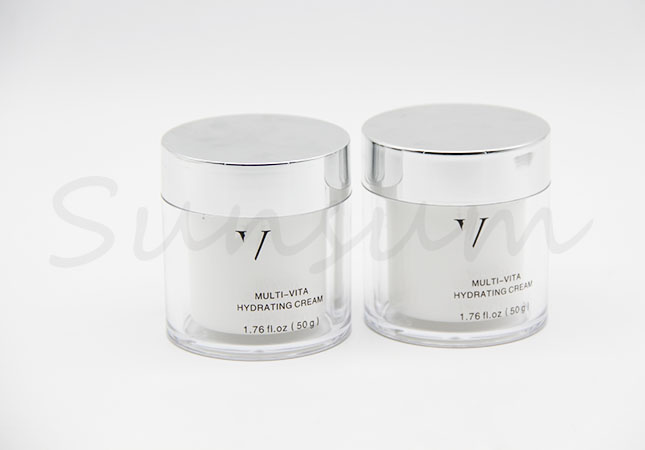 Cosmetic Plastic Double Wall Face Mask Silver Cap Jar