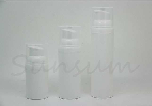 White Color Cosmetic Airless Lotion Skin Facial Cleanser Bottle