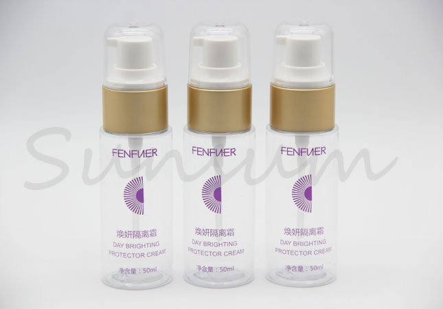 30ml 50ml 100ml Cosmetic Plastic Lotion Golden Pump Cleanser Bottle