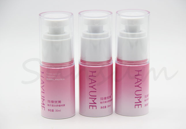 Cosmetic Pink Color Lotion Pump Spray 30ml Plastic Bottle