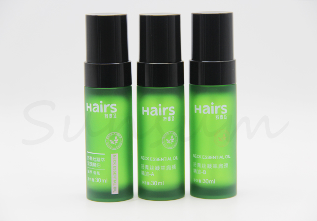 30ml Cosmetic Plastic Thick Wall Lotion Green Color Frosted Bottle