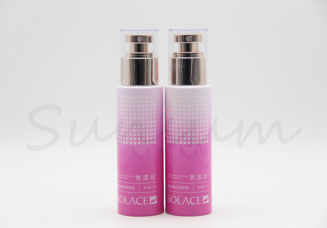 Cosmetic Plastic 100ml Lotion Pump Spray Bottle with Printing