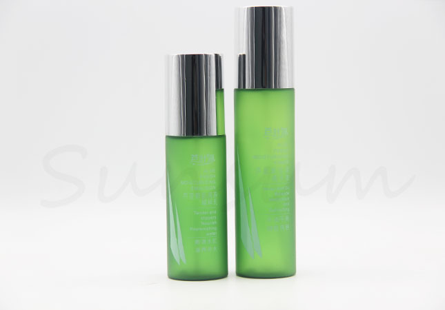 Green Frosted Cosmetic PET Plastic Lotion Cream Bottle