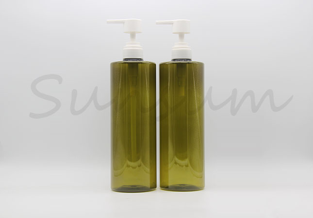 1000ml Green Color Cosmetic Hair Care Shampoo Bottle with White Lotion Pump
