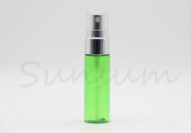 Transparent Green Color Cosmetic Lotion Pump Spray Silver Bottle with 30ml