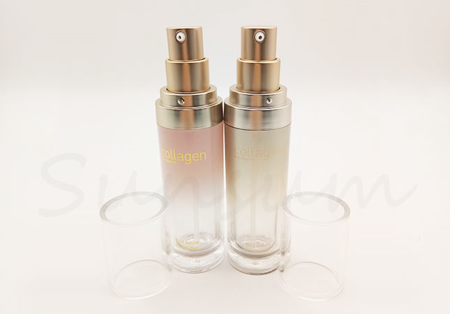 Set Cosmetic Lotion Double Wall PET Plastic Packaging Elegance Bottle