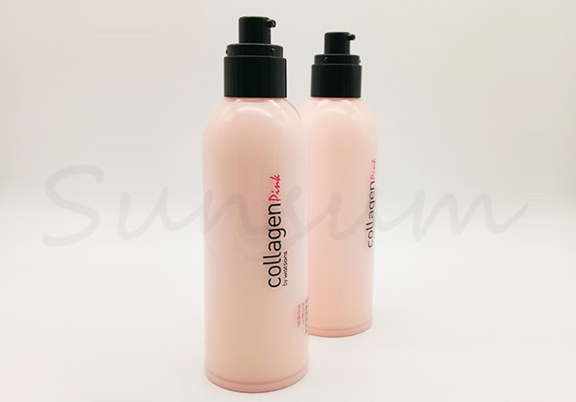 Set Cosmetic PET Plastic Pink Color Bottle for Body Care Cream