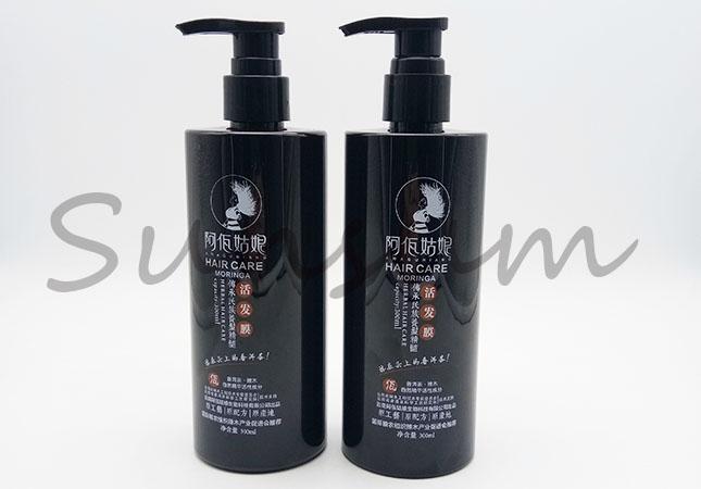 Cosmetic PET Plastic Shampoo Hair Care Black Bottle