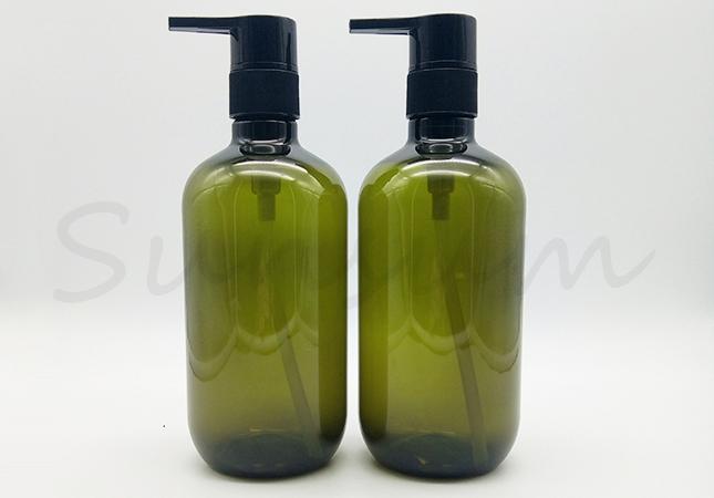 Cosmetic PET Plastic Shampoo Green Color Shower Gel Bottle
