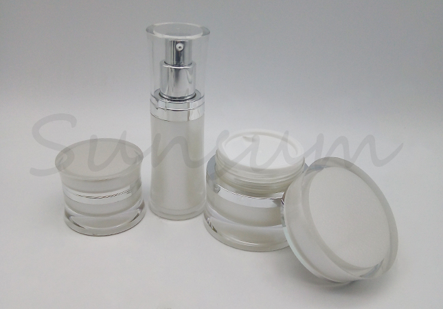 Costomized Logo Luxurious Acrylic Double Wall Jar Lotion bottle With Silver Pump