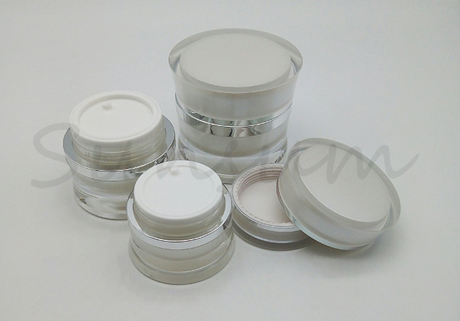 Customized Luxurious Acrylic Cream Jar For Skin Care With Screw Cap