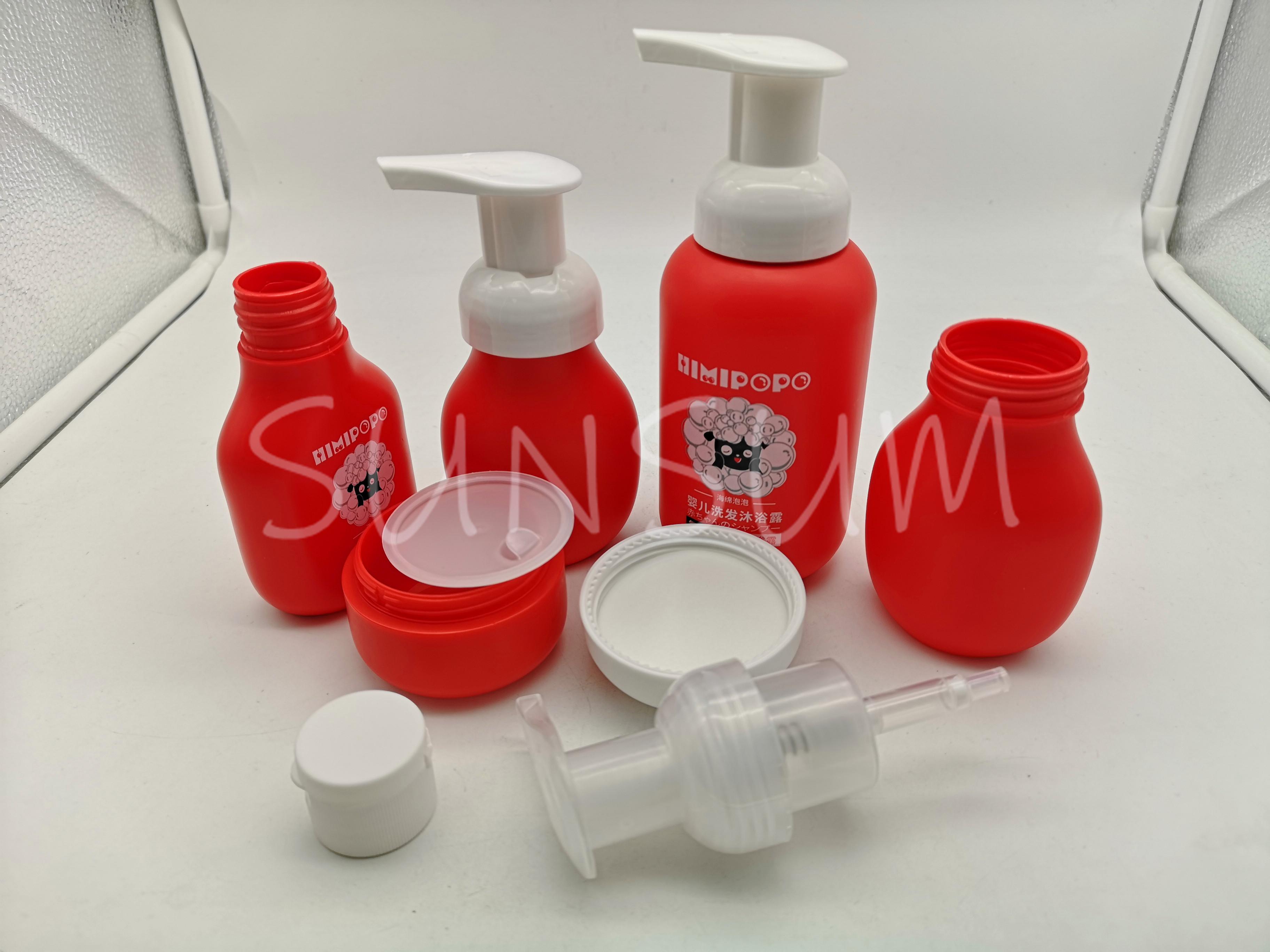 Customized Logo Gradual Change PET Plastic Bottle With Form Pump