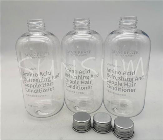 300ml transparent PET screen printing shampoo bottle with aluminum cap