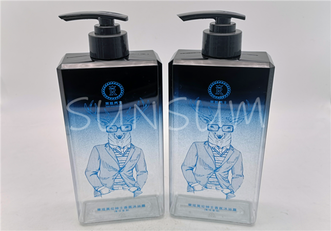 500ml gradient color screen printing flat PETG material body soap shampoo bottle