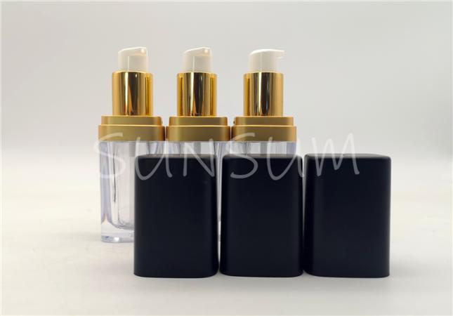 15ml matt black cap flat square metal coating liquid foundation acrylic bottle