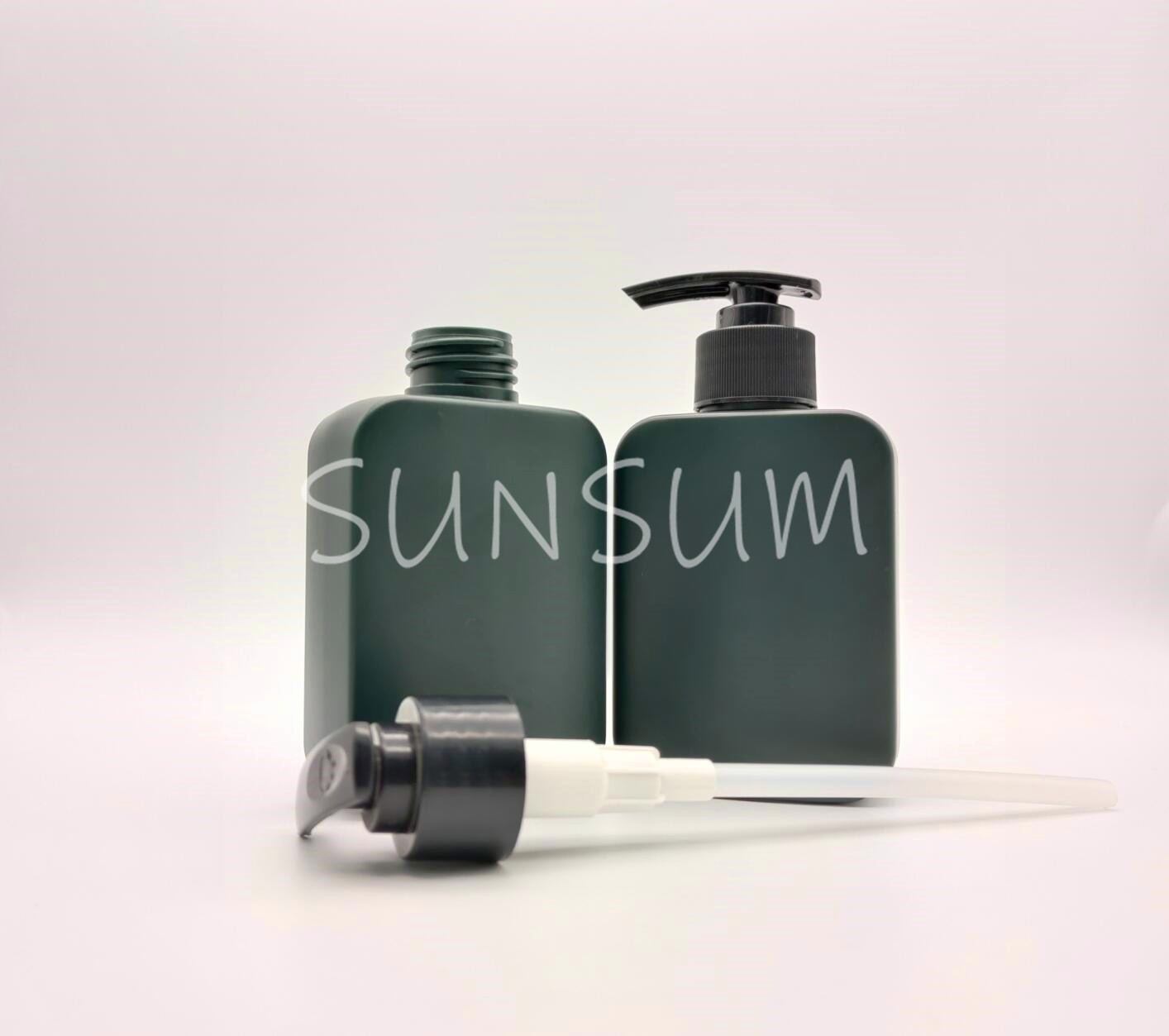 Dark green color HDPE material flat square bottle for shampoo