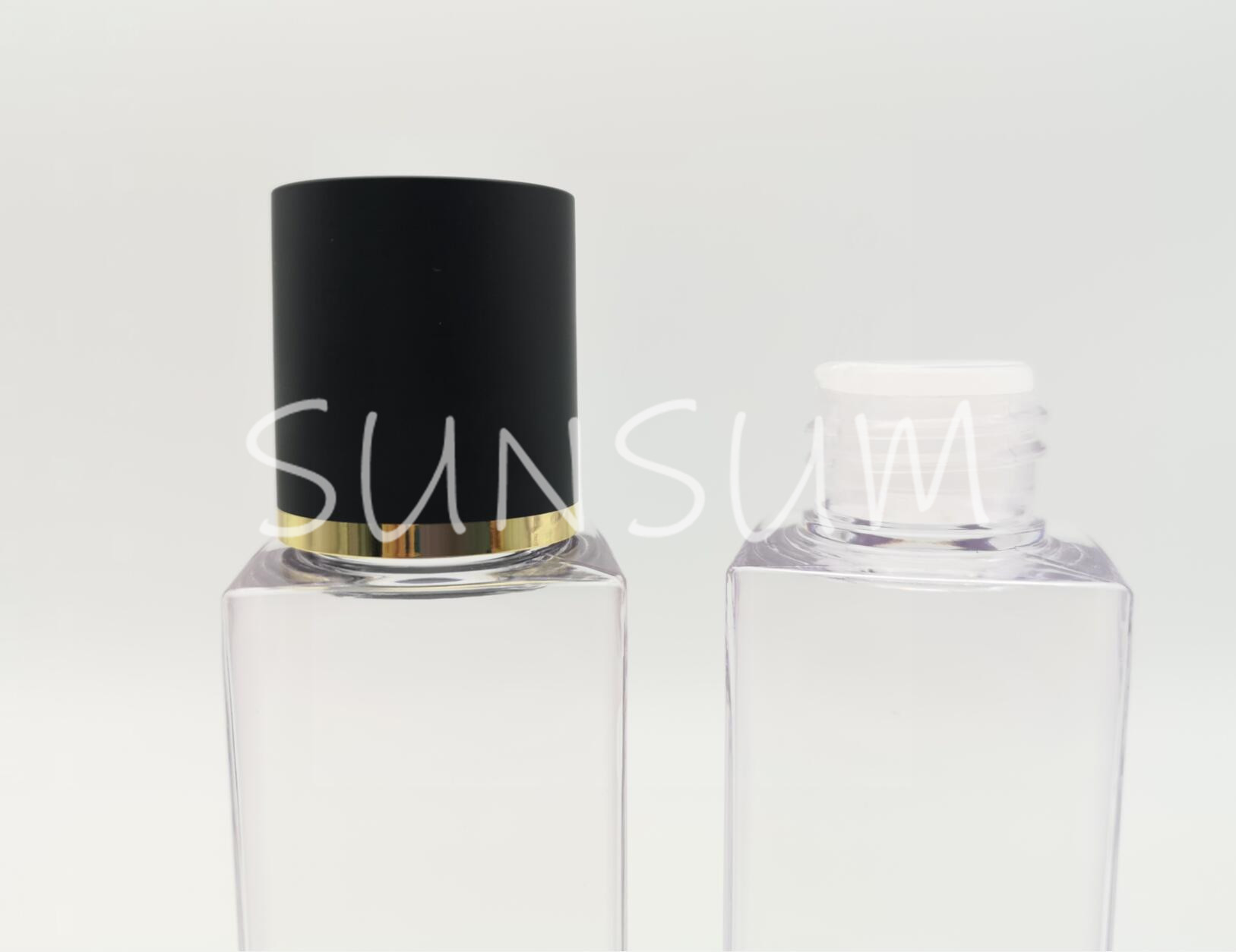 PETG high grade of transparency 100ml square bottle with screw matte lid